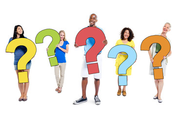 Multi-Ethnic People Holding Question Marks