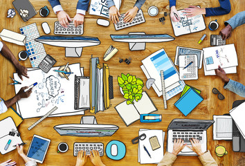 People Working at Messy Table Photo Illustration