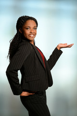 African American Woman Presenting with Palm Up