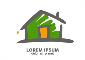 sketch green house logo vector