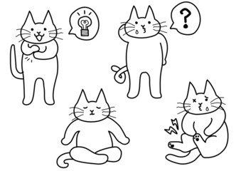 猫ポーズ4種