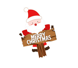 happy Santa claus with sign
