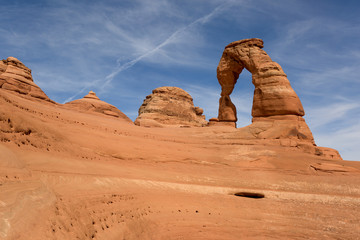 Delicate Arch on a blue sky background