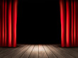 Theater stage with wooden floor and red curtains. Vector. - 69965251