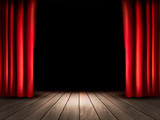 Fototapety Theater stage with wooden floor and red curtains. Vector.