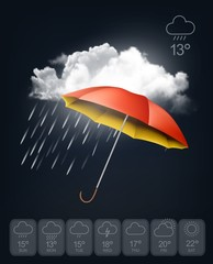 Weather forecast template. An umbrella on rainy background.