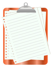 Orange clipboard with white paper