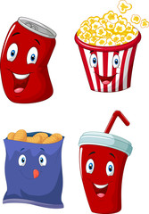 Popcorn, soft drink, french fries and potato chips