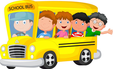 School Bus With Happy Children
