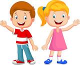 Fototapety Cute children waving hand