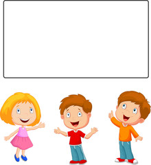 Happy children looking and pointing to blank banner