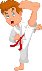 Little boy training karate