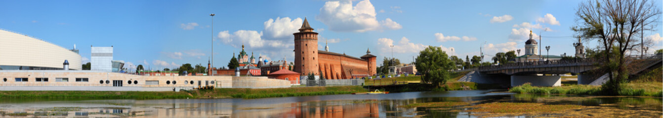 The powerful walls of the Kremlin. Panorama. Kolomna. Russia