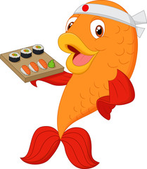 Cartoon chef fish holding sushi