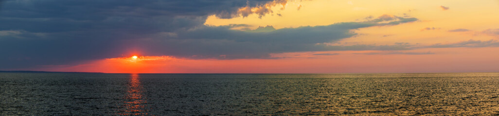 Sunset panorama over Atlantic ocean