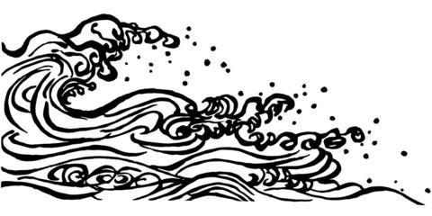 波しぶき 浮世絵 毛筆イラスト
