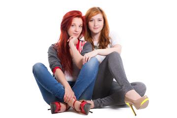 Two pretty redhead women