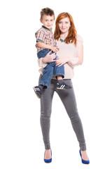 Redhead woman posing with a little boy