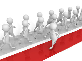 different 3d man walks in another way. success concept