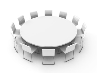meeting room table with chairs around