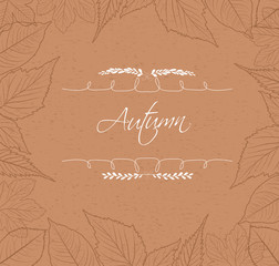 Autumn leaves border background retro