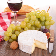 cheese and green grapes