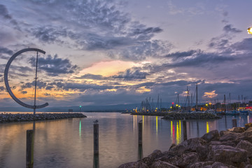 Sunset on the port of Lausanne (Ouchy), Switzerland - HDR