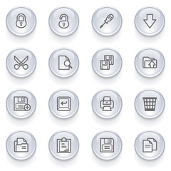 Document icons with glossy buttons.