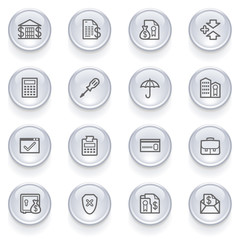 Banking icons with glossy buttons.