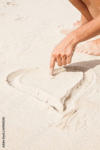 canvas print picture Heart drawn in the sand.