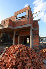 brick block in residential building construction