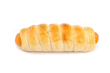 long sausage buns isolated on white background
