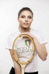 girl with vintage tennis racket