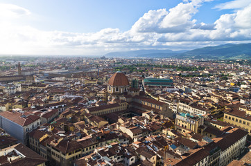 Aerial panoramic view of Florence from a tower, Tuscany