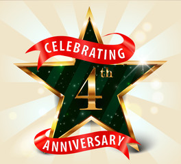 4 year anniversary celebration golden star ribbon