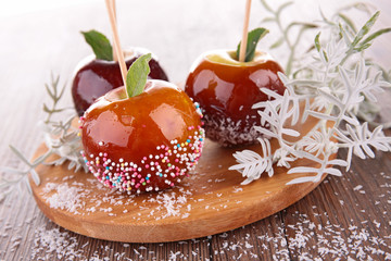 caramel apple on stick
