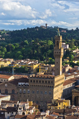 Aerial telephoto view of Florence from a towes, Tuscany