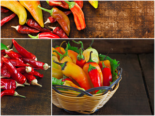 Collage of various chilli peppers