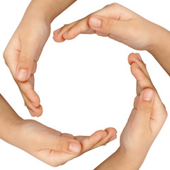 Children's hands forming a round frame isolated on white