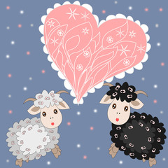 Christmas card with cute sheep and heart on purple background