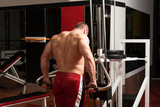 Young Bodybuilder Doing Heavy Weight Exercise For Trapezius poster