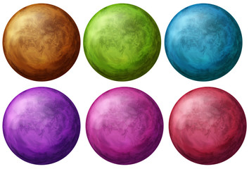 Six colorful balls