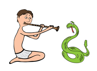 snake charmer, fakir vector illustration