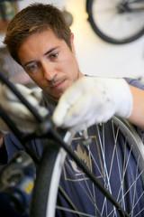 Man working in bike workshop