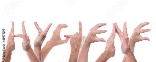 Leinwandbild Motiv hands form the word hygiene