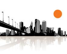 Czarno-białe Pejzaż z wody refleksji i most.
