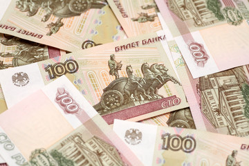 One hundred rubles background