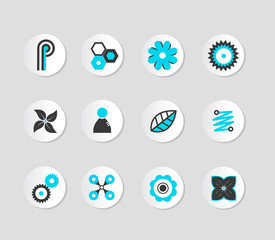 Set of grey and blue icons. Vector