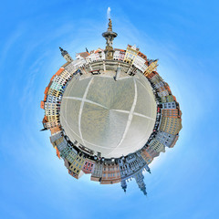 Spherical panorama of the central square of Ceske Budejovice