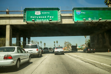 Car traffic Hollywood 101 freeway Los Angeles POV perspective.